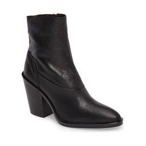 Topshop Black May Leather Block Heel Sock Bootie